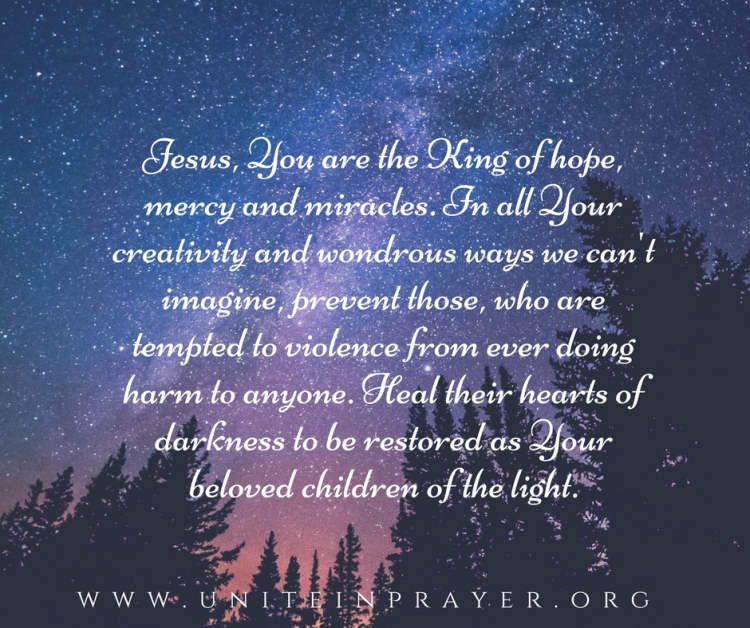 Lord, You are the King of hope, mercy and miracles. In all of Your creativity and miraculous ways we can_t imagine, prevent those, who are tempted to violence from ever doing harm to a